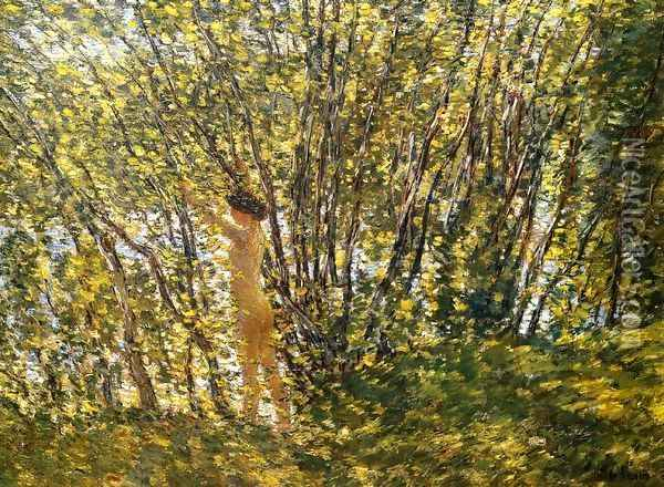 Nude in Sunlilt Wood Oil Painting - Childe Hassam