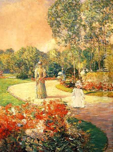 Parc Monceau, Paris Oil Painting - Childe Hassam