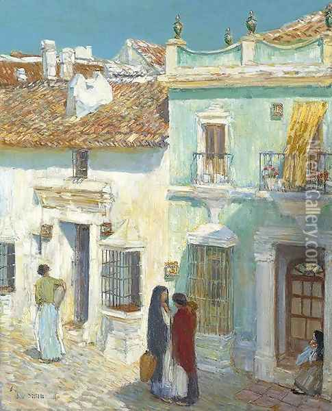 Plaza de la Merced, Ronda Oil Painting - Childe Hassam