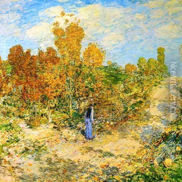 New England Road Oil Painting - Childe Hassam