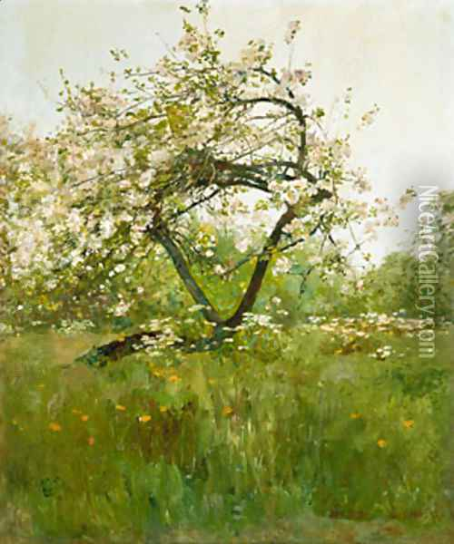 Peach Blossoms Oil Painting - Childe Hassam