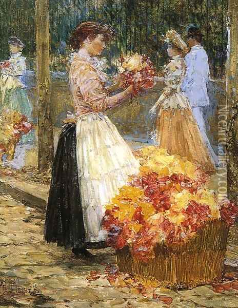 Woman Sellillng Flowers Oil Painting - Childe Hassam
