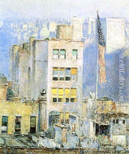 The Flag, Fifth Avenue Oil Painting - Childe Hassam