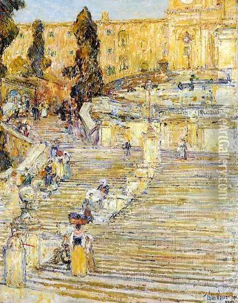 The Spanish Steps, Rome Oil Painting - Childe Hassam