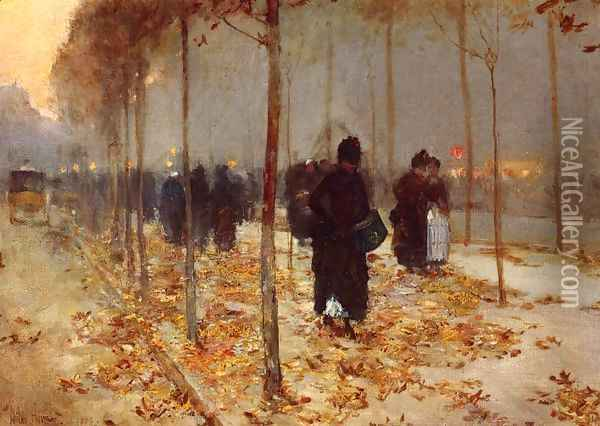 Paris Street Oil Painting - Childe Hassam