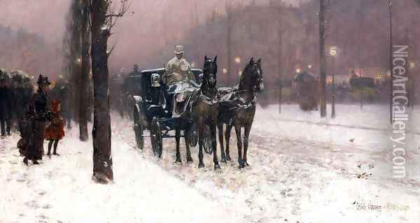 Street Scene with Hansom Cab Oil Painting - Childe Hassam