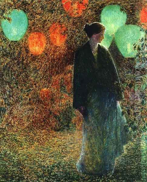 July Night Oil Painting - Childe Hassam