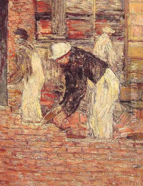 Bricklayers Oil Painting - Childe Hassam