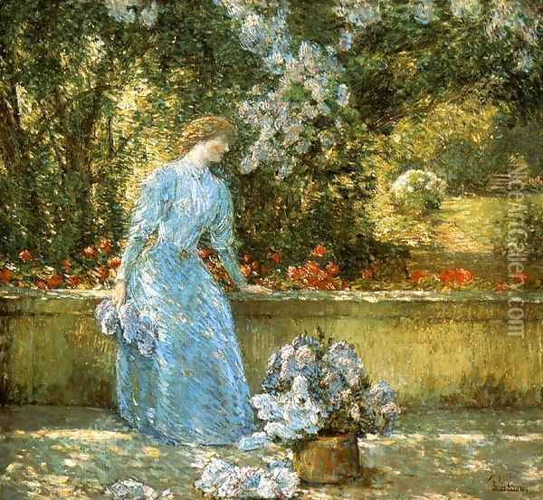 Lady in the Park Oil Painting - Childe Hassam