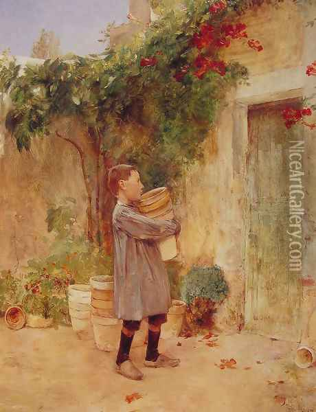 Boy with Flower Pots Oil Painting - Childe Hassam