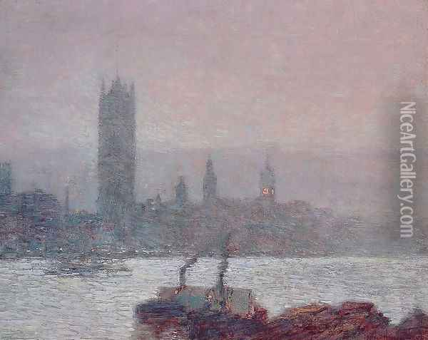 Houses of Parliament, Early Evening Oil Painting - Childe Hassam
