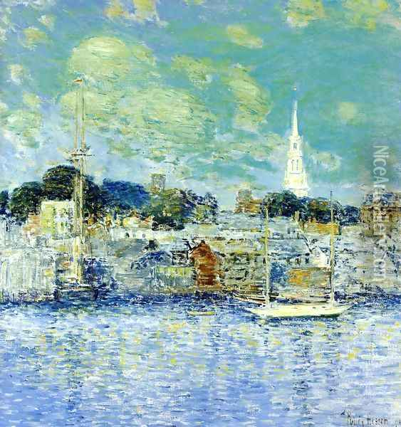 Newport Waterfront Oil Painting - Childe Hassam