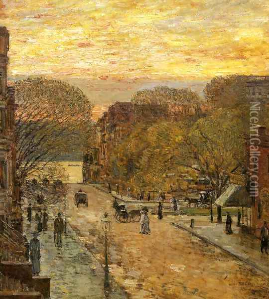 Spring on West 78th Street Oil Painting - Childe Hassam