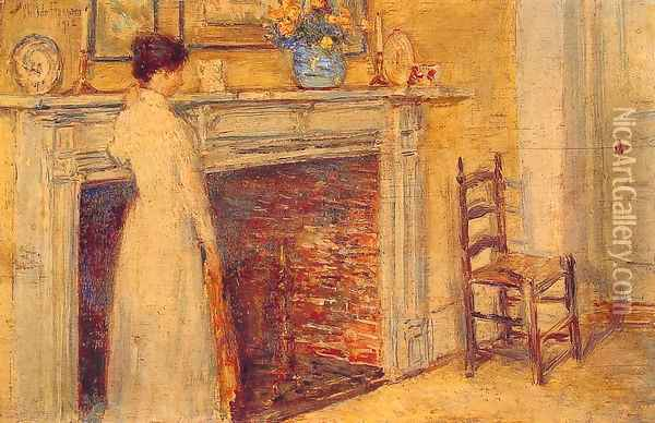 The Fireplace Oil Painting - Childe Hassam