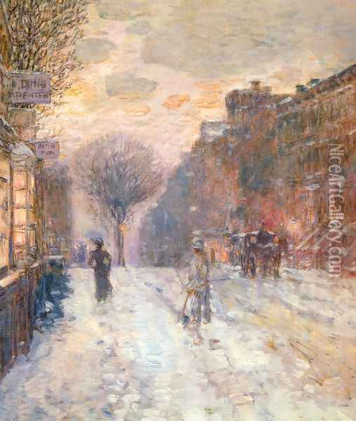 Early Evening, After Snowfall Oil Painting - Childe Hassam