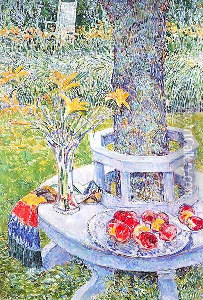 Flowers and fruit under the tree Oil Painting - Childe Hassam
