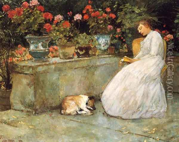 Reading Oil Painting - Childe Hassam