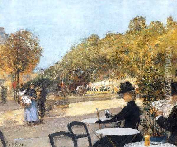 At the Cafe Oil Painting - Childe Hassam