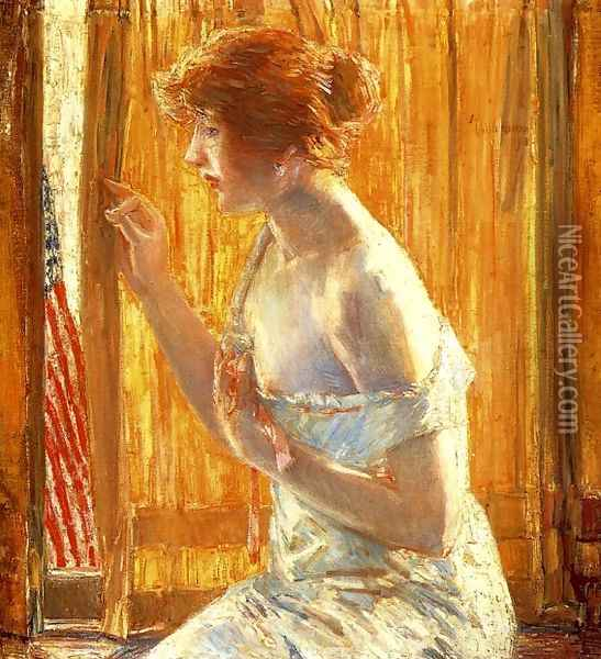 The Flag Outside Her Window, April 1918 Oil Painting - Childe Hassam