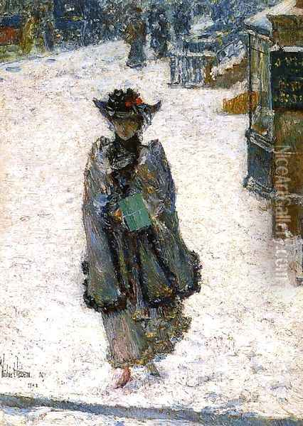 Street Scene, Christmas Morning Oil Painting - Childe Hassam