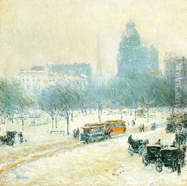 Winter in Union Square Oil Painting - Childe Hassam