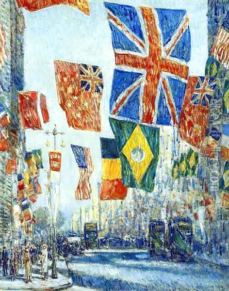 Avenue of the Allies, Great Britain, 1918 Oil Painting - Childe Hassam