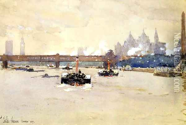 View of the Thames Oil Painting - Childe Hassam
