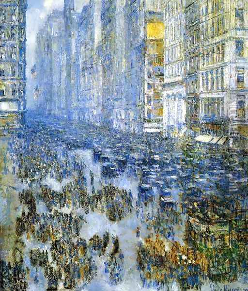 Fifth Avenue in Winter 2 Oil Painting - Childe Hassam
