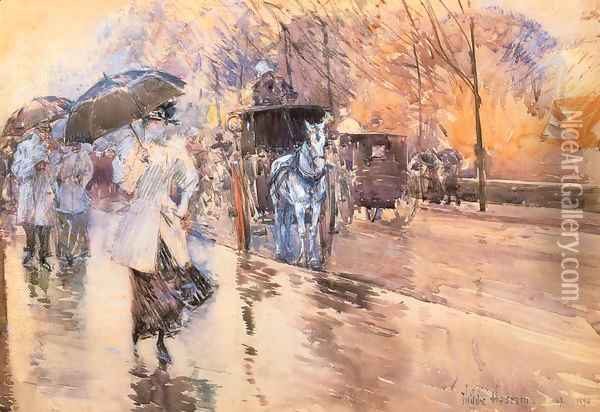 Rainy Day on Fifth Avenue Oil Painting - Childe Hassam