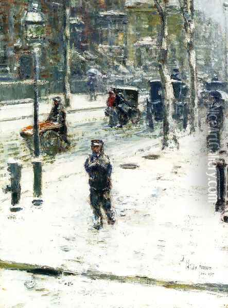 Snow Storm, Fifth Avenue, New York Oil Painting - Childe Hassam