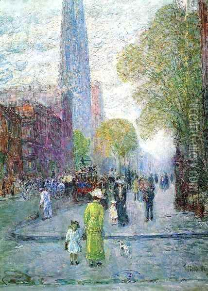 Cathedral Spires, Spring Morning Oil Painting - Childe Hassam