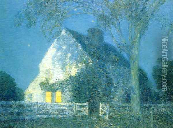 Moolight, the Old House Oil Painting - Childe Hassam