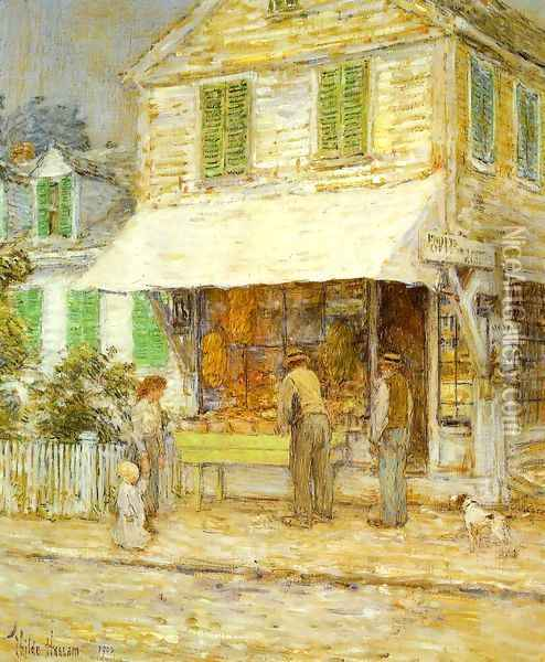 Provincetown Grocery Store Oil Painting - Childe Hassam