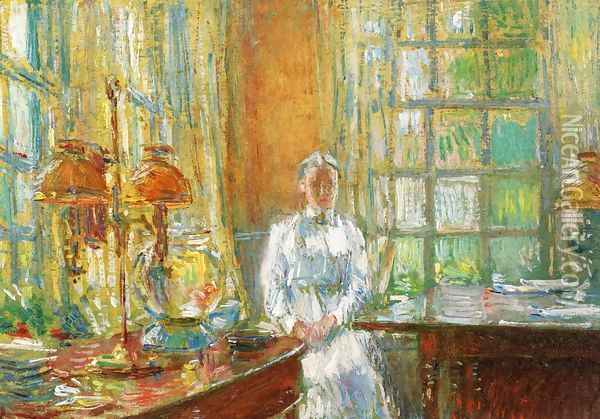 Mrs. Holley of Cos Cob, Connecticut Oil Painting - Childe Hassam