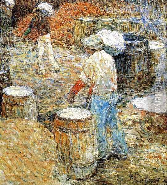 New York Hod Carriers Oil Painting - Childe Hassam