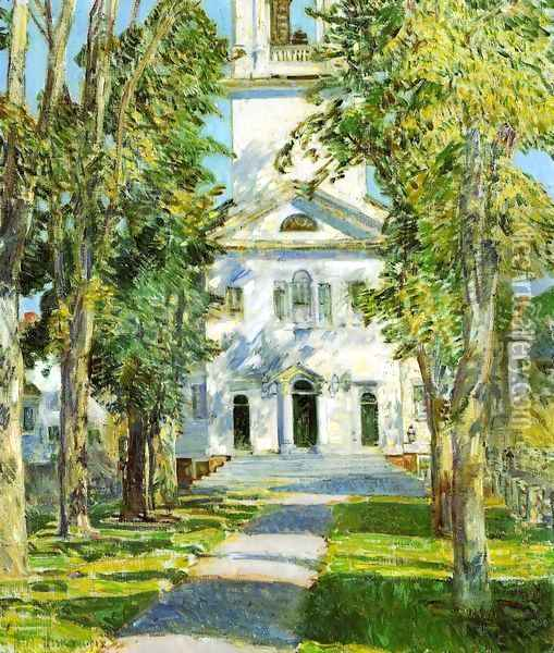The Church at Gloucester Oil Painting - Childe Hassam