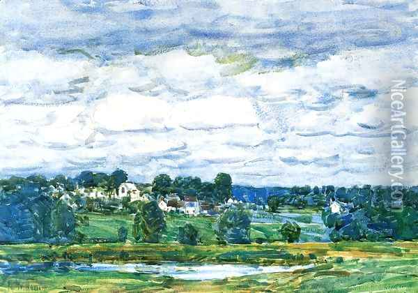 Newfields, New Hampshire Oil Painting - Childe Hassam