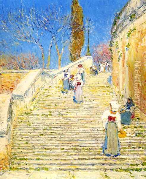 Piazza di Spagna, Rome Oil Painting - Childe Hassam