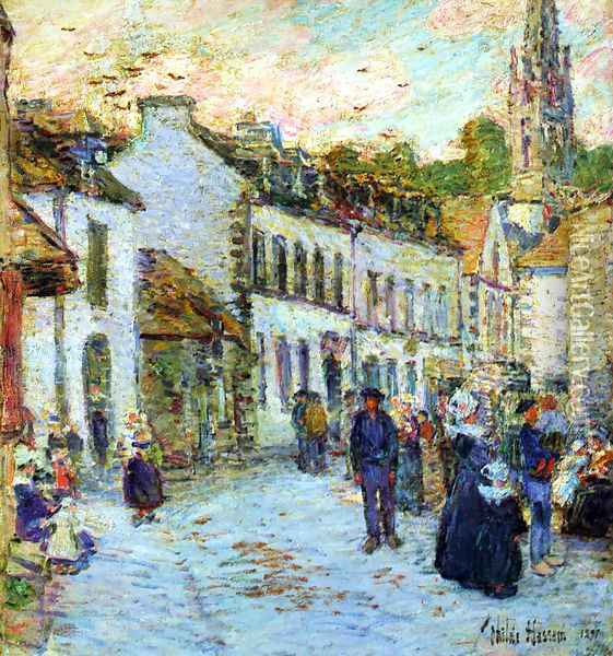 Pont-Aven, Evening Oil Painting - Childe Hassam