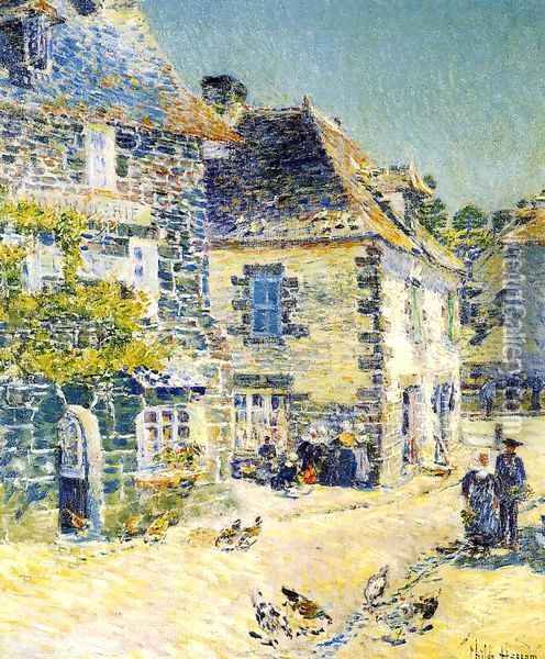 Pont-Aven, Noon Day Oil Painting - Childe Hassam