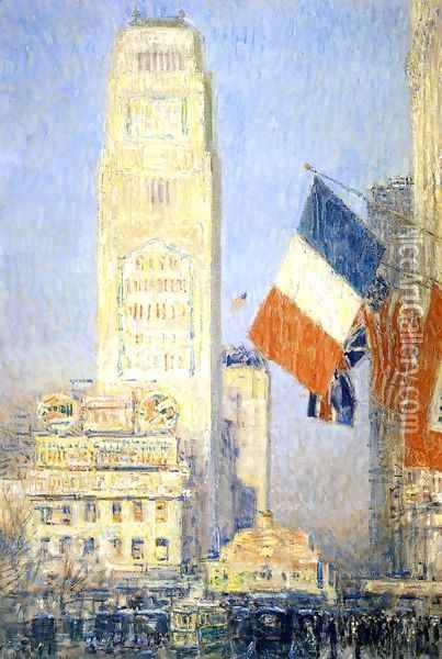 The New York Bouquet, West Forty-Second Street Oil Painting - Childe Hassam