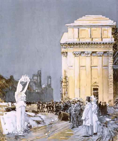 Scene at the World's Columbian Exposition, Chicago, Illinois Oil Painting - Childe Hassam