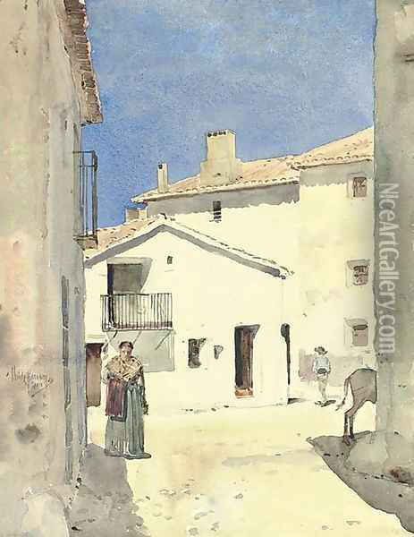 A Street in Denia, Spain Oil Painting - Childe Hassam