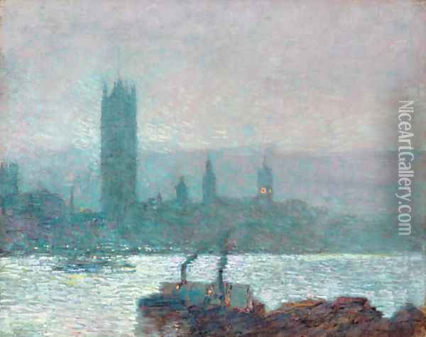 Houses of Parliament, Early Evening 2 Oil Painting - Childe Hassam