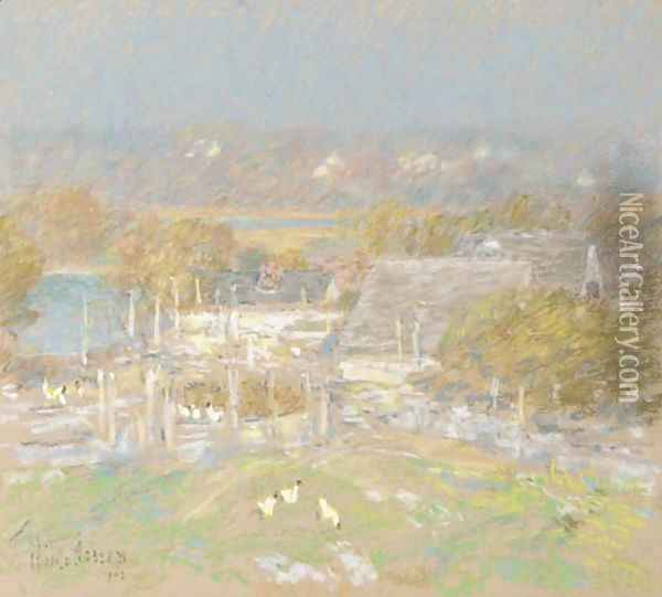 Chicken Yard Back of the Holley House Oil Painting - Childe Hassam