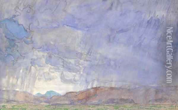 Thunderstorm on the Oregon Trail Oil Painting - Childe Hassam