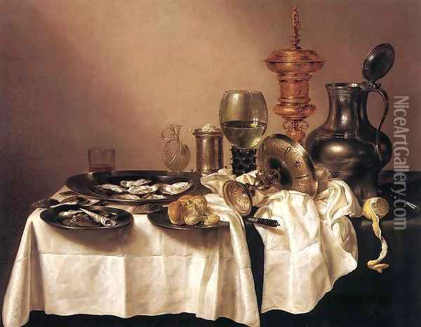 Still Life with a Gilt Goblet 1635 Oil Painting - Willem Claesz. Heda