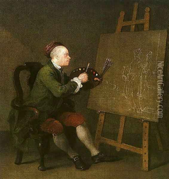 Self Portrait at the Easel Oil Painting - William Hogarth