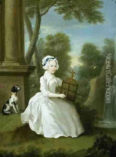 Portrait of a young lady of the Stamford family thought to be Lady Jane Grey Oil Painting - William Hogarth