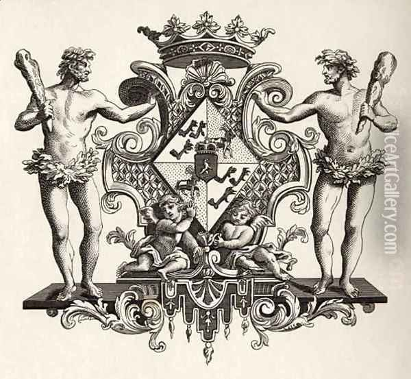 Coat of Arms of the Duchess of Kendal Oil Painting - William Hogarth
